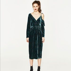 Zara Velvet Off the Shoulder Dress